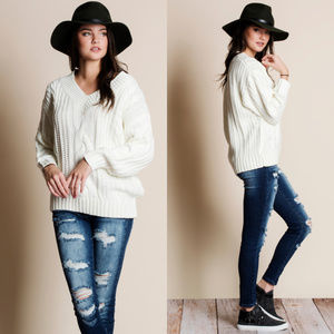 Sweaters - Cable Knit V-Neck Sweater